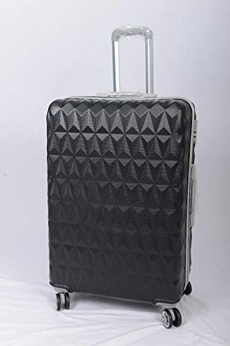 GXK Black Suitcase 4 Wheel Spinner Hard Shell Luggage Trolley Case 20' 24' 28' (Size : 24+#034;)