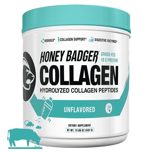 Honey Badger Natural Keto Collagen Peptides Protein Powder   Unflavored   Gluten Free Paleo + Amino Acids BCAA Digestive Enzymes   Hydrolyzed Grass-Fed Protein Supplement Sucralose Free   30 Servings