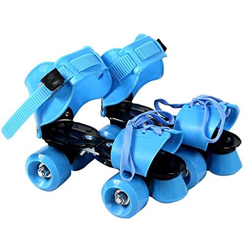 Patines de rodillos para niños, Tamaño ajustable Patines de doble rodillo, Safe Durable Roller Patines para principiantes ligeros al aire libre 4 ruedas Patines PU Cuero en línea Patines para niños