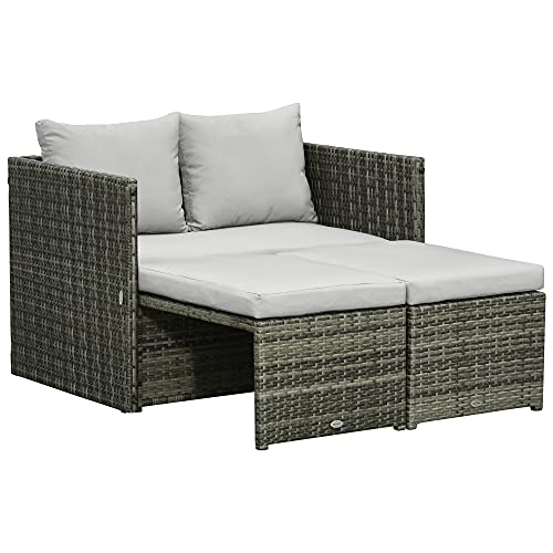 Outsunny 3-in-1 Rattan Lounge Set Doppelsofa Gartentisch mit 2 Hocker Liegesessel Loungegruppe Multifunktion kombinierbar Stahl Grau