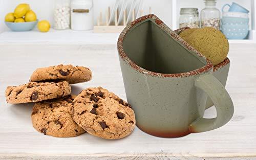 Kaffeetasse aus Keramik mit Tasche für Kekse oder Kekse Grün