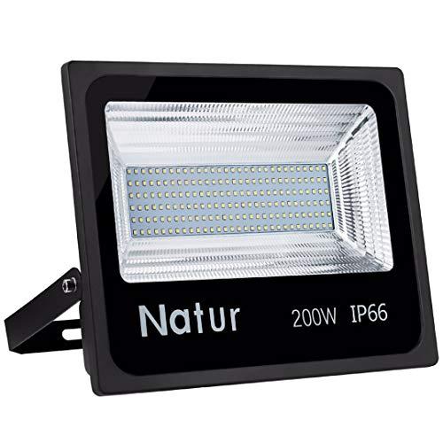 Natur 200W LED Strahler, 20000LM Superhell Fluter,IP66 wasserdicht Industriestrahler, 3000K Warmweiß Flutlicht-Strahler,Außen-Leuchte Flutlicht-Strahler für Innen- und Außenbereich