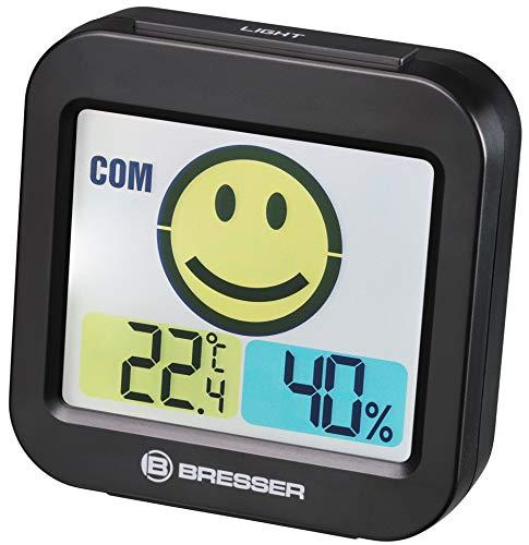 Bresser Temeo - Termómetro higrómetro con indicador de temperatura ambiental para prevenir el moho, color negro