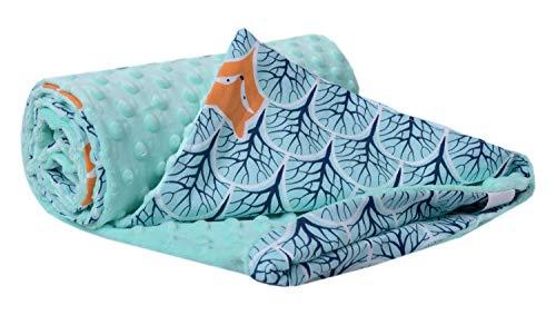 Krabbeldecke 100% Baumwolle 75x100cm doppelseitig multifunktional Minky Kuscheldecke für Kinderwagen weich flauschig (Wald mit minzer Minky)