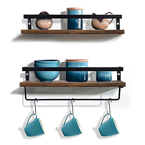 TYLINK Rustic Floating Shelves,Wood/Wooden Kitchen Shelf Set of 2, Metal Storage Wall Shelves with Rail & Hooks for Kitchen, Bedroom, Living Room, Bathroom, Office, Corridor
