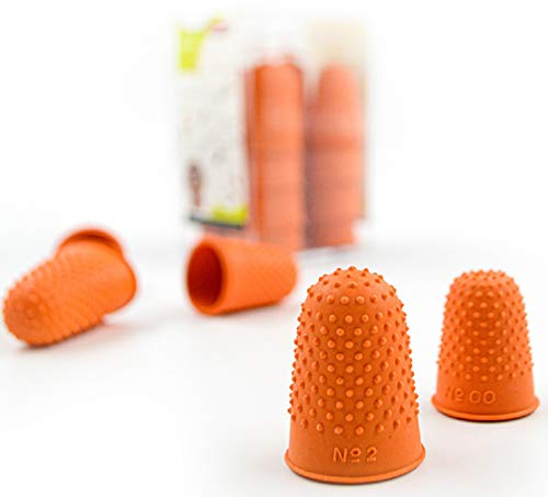 Pack of 20 Studded Natural Rubber Finger Cone Thimblettes in 5 sizes For Note Counting and Page Turning