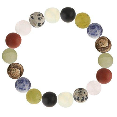 Pulsera de piedras preciosas multicolor de ágata, ónice, jaspe jaspe cornalina, calcita y soodalita, esmerilado, elástica, color mate