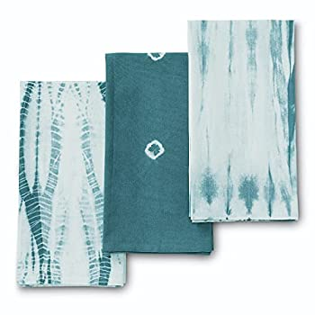 Folkulture Kitchen Towels or Dish Towels for Kitchen 18x26 Inches Tea Towels with Hanging Loop or Hand Towels Flour Sack Towels or Farmhouse Kitchen Towels 100% Cotton Set of 3 Indie Blueish Grey