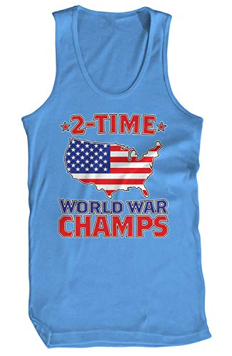 Amdesco Men's 2 Time World War Champs Tank Top, Carolina Blue Large