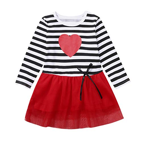 Zerototens dress - Toddler Baby Kids Girls Valentine's Day Bow Striped Tulle Princess Dress Clothes(18-24 Months,Red)