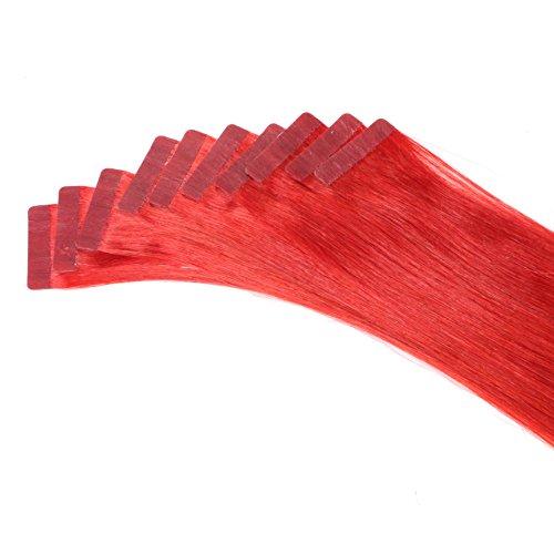 Just Beautiful Hair and Cosmetics Lot de 10 extensions capillaires avec bandes adhésives Cheveux naturels de qualité Remy Mèches de 2,5 g et 60 cm