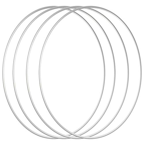 Sntieecr 4 PCS 12 inch / 30 cm Large Metal Ring Hoops Silver Metal Macrame Hoops Steel Floral Craft Rings for Making Wedding Wreath Decor, Dream Catcher and Macrame Wall Hanging Craft