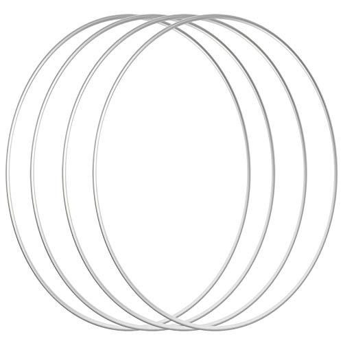 Sntieecr 4 PCS 30 cm Große Metall Ring Reifen Silber Metall Makramee Reifen Stahl Floral Handwerk Ringe für die Herstellung Hochzeit Kranz Dekor, Traumfänger und Makramee Wandbehang Handwerk