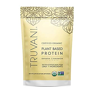TRUVANI - Plant Based Protein Powder - USDA Certified Organic Protein Powder, Vegan, Non-GMO, Gluten Free Protein Powder (Banana Cinnamon) by Truvani