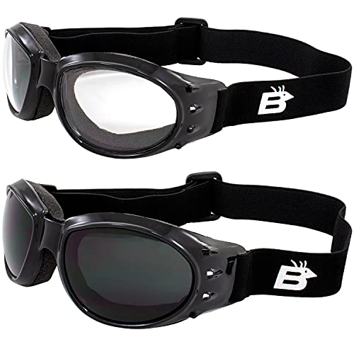 Birdz Eagle Red Baron Motorcycle Airsoft Goggles Clear & Super Dark Day Night