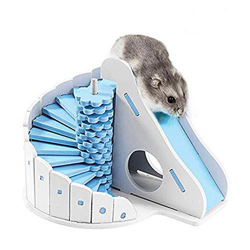 Oncpcare Juguete de animales pequeños para mascotas, adorable tobogán de hámster con escaleras, juguete de hámster para escondite de rata accesorios para jerbos, chinchilla, ratas (color al azar)