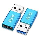Skyee 2 Unidades Adaptador USB Tipo C, USB-C Hembra a Tipo A USB 3.0 Macho Adaptador, USB 3.1 Tipo C Adaptador pour Carga o la Transferencia de Datos- Azul