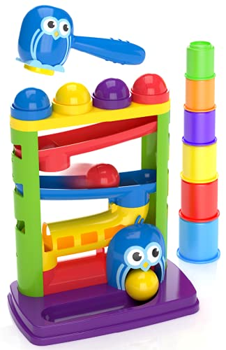 Pound a Ball Toy For Toddlers + FREE 6 Stacking Cups, Hammer and Ball Toys for 1 Year Old Boy & Girl STEM Developmental Fun Learning toy, Montessori Fine Motor, Best Toddler Gift, Birthday, Ages 1 2 3