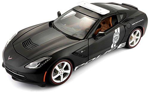 Maisto Corvette Stingray Politie 2014, modelauto met vering, schaal 1:18, deuren en motorkap beweegbaar, klaar model, bestuurbaar, 24 cm, zwart (536212)
