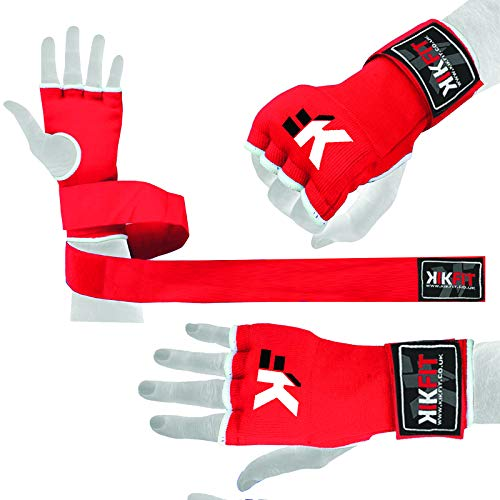KIKFIT Gel Red Boxing Inner Gloves Hand Wrap, Grappling Gloves, Punch Bag Protective (Large/X Large)
