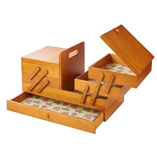 Sewing Online Trä konsol sömnad förvaringsbox 45 x 23,5 x 28 cm färgat trä med Rosebud designinredning