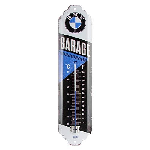 Nostalgic-Art Analoges Retro Thermometer BMW – Garage – Geschenk-Idee für Auto Zubehör Fans, aus Metall, Vintage-Design zur Dekoration, 6,5 x 28 cm