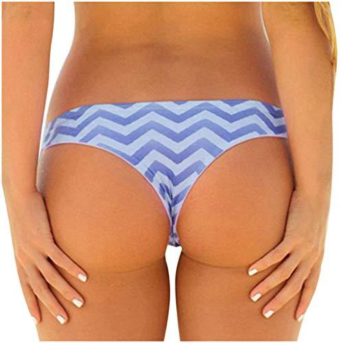 Dorical Damen Bikinihose Bikinislip Panty Bikini-Hose Seitlich Hohl/Frauen Badehose Tanga String Rüschen Brazilian Sexy Bikini Slip Schnüren Höschen Unterwäsche Schwimmhose (S, A2-Lila)