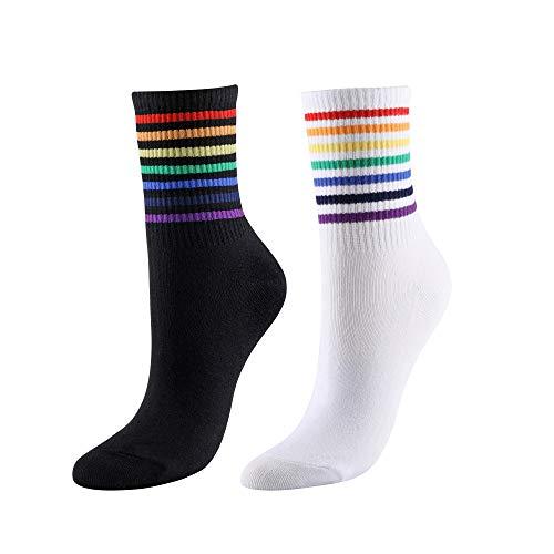 CHIC DIARY Regenbogen Streifen Socken Damen Rainbow Bunte Gestreifte Strümpfe Sportsocken Fun-Socken Fasching Karneval Kostüm