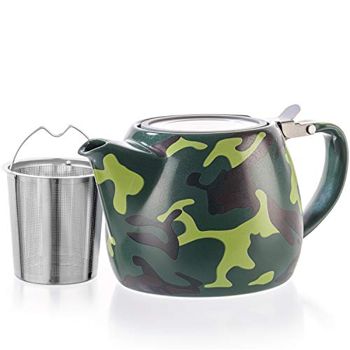 Tealyra - Military Porcelain Teapot - 22-ounce (2-3 cups) - Unique Design - Extra-Fine Infuser and Stainless Steel Lid - Infuse Loose Leaf Tea or Bags - 650ml