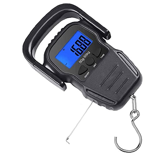 Fishing Scales Portable Hanging Hook Scale Digital Luggage Scales Electronic with Backlit LCD Display for Weighing Black Fishing Tool Accessories