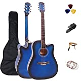 41 Inch Acoustic Guitar Professional 4/4 Full Size Cutaway Folk Guitarra Bundle ROSEFINCH 6 Metal Strings with Adults Beginner Kit Gig Bag,Strap,Picks,Steel Strings, Capo(Blue Color)