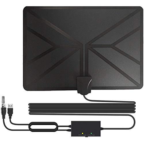 BESROY TV Aerial,2020 Newest Indoor TV Aerial 120 Miles Aerial Local Channels With Signal amplifier Support ALL Television for Digital Freeview Analog TV Signals Support 4K 1080P HD VHF UHF(16.5ft)