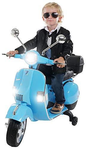 Actionbikes Motors Kinder Elektroroller Vespa PX150 - Lizenziert - 2x18 Watt Motor - Eva Vollgummi Reifen (Blau)