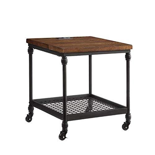 coffee table. Small round table. Small square tabl -Tables Universal-Rad Sofa-Beistelltisch, industrieller Beistelltisch mit Lagerregalen, für Wohnzimmer, Holzoptik Akzentmöbel mit Metallrahmen, rusti