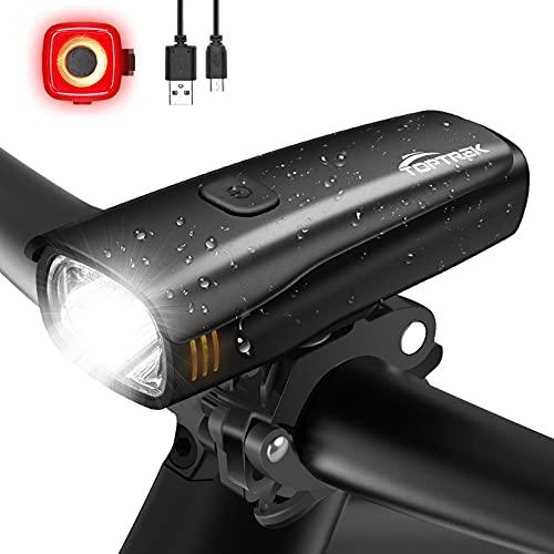 toptrek Fahrradlicht Set Akkukapazität Bis Zu 2600 mAh Fahrradlicht LED Fahrradbeleuchtung Laufzeit Bis Zu 9 Stunden Fahrradlampe, IPX5 Wasserdicht Fahrrad licht mit Nahfeldbeleuchtung