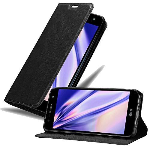 Cadorabo Hülle für LG X Power 3 in Nacht SCHWARZ – Handyhülle mit Magnetverschluss, Standfunktion & Kartenfach – Case Cover Schutzhülle Etui Tasche Book Klapp Style