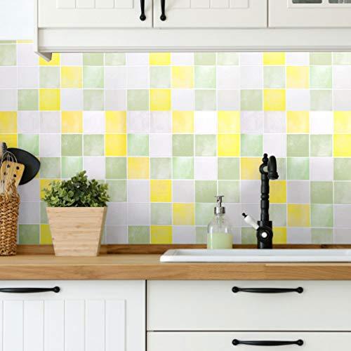 Mosaik Klebefolie fliesen 0,61 x 5 M Wandaufkleber Selbstklebende Tapete DIY Möbelfolie PVC Fliesensticker Küche Bad Schlafenzimmer Dekorfolie Kariert-A