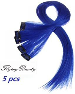 Blue Clip in 100% Real Human Hair Extensions Straight Blue Clip on Highlights Hair Extensions 5 Pieces/set 18 Inch Color Blue