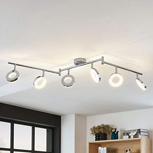 Lindby LED Deckenlampe 'Ringo' (Modern) in Chrom aus Metall u.a. für Wohnzimmer & Esszimmer (6 flammig, A+, inkl. Leuchtmittel) - Deckenleuchte, Wandleuchte, Strahler, Spot, Lampe, Wohnzimmerlampe