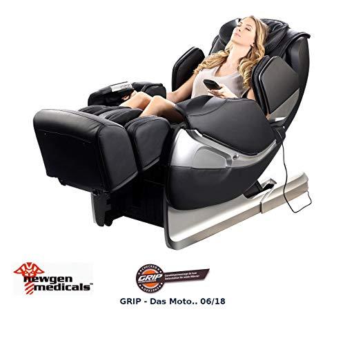 newgen medicals Kunstleder-Massagesessel: Ganzkörper-Massagesessel GMS-300.bt mit Bluetooth, schwarz (Elektrische Massagesessel)