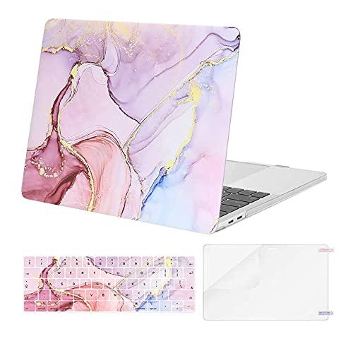 MOSISO Case Compatibile con MacBook PRO 13 Pollici 2016-2020 Uscita A2338 M1 A2289 A2251 A2159 A1989 A1706 A1708,Plastica Corazza Dura&Cover per Tastiera&Proteggi Schermo, Marble MO-MBH216, Rosa