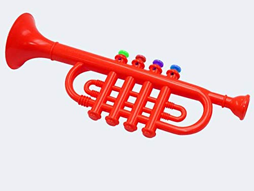 Concerto 707103 Trompete 27 cm, Instrument mit 4 Töne, Kindertrompete aus Kunststoff, Spielzeugtrompete in Rot, Blasinstrument zum Lernen und Üben, Musikinstrument für Kinder ab 3 Jahre