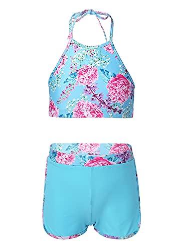 TiaoBug Traje de Baño de Dos Piezas Bikini Bañadores Impresos Conjunto Top con Cuello Halter sin Espalda y Pantalones Cortos Elásticos Cintura Bóxers Boyshorts Azul 13-14 años