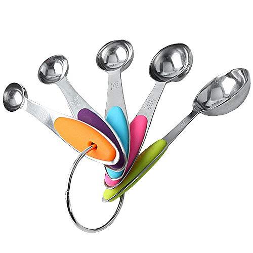 OeyeO - Set di 5 cucchiaini dosatori in acciaio INOX colorato, set di cucchiaini dosatori liquidi o cucchiai dosatori a secco