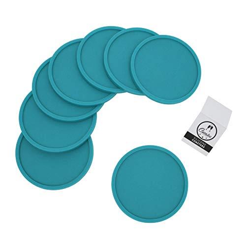 Coastee Silikon-Untersetzer - 8 Stück, türkis, Glasuntersetzer-Set für Bar, Wohnzimmer, Küche