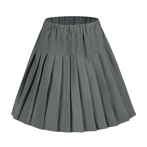 Damen Schulmädchen-Stil Skater Röcke Faltenrock Schuluniform (M, Grau Solide)