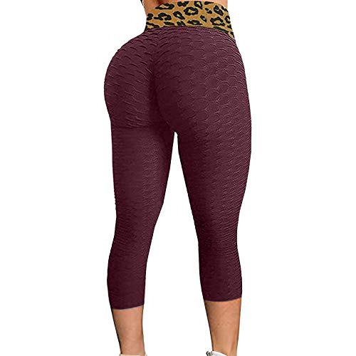 BUKINIE Yoga Pants for Women, Honeycomb Textured High Waist Tummy Control Sexy Leggings Workout Running Cycling Printed Tights Butt Lifting Anti Cellulite Exercise Trousers Wine