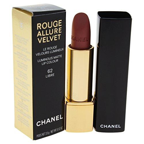 Chanel Rouge Allure Velvet Luminous Matte Lip Colour for Women, Libre, 0.12 Ounce