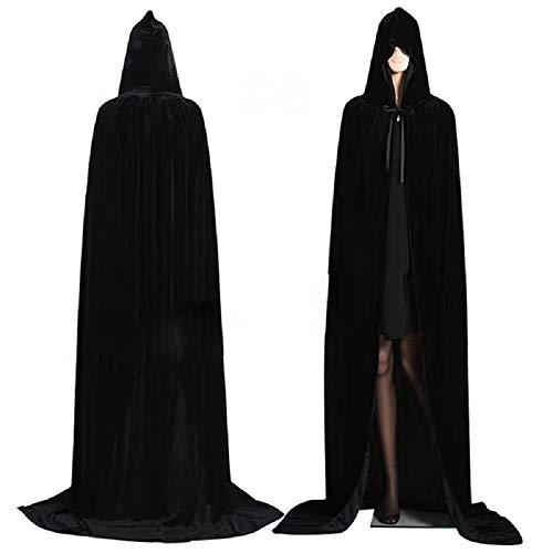 Negro Largo Capa con Capucha Terciopelo Disfraz para Halloween Disfraces de capa de Navidad 170cm