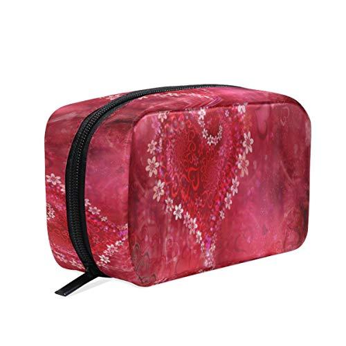 Trousse de Maquillage pour Femme avec Fermeture éclair - Motif cœur Romantique - Rose Rouge - pour la Saint-Valentin